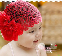 Wholesale Cute Baby kids hair band net flower Hand crocheted hairband ornaments hairnet Weave Dream caps hat
