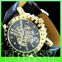 Wholesale New Dress fashion clock style Gold Tone Skeleton Mechanical Men women watch by foksy