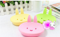 Wholesale cute plastic rabbit bathroom soap box bath soap holder Soap Dish Holder two layers Bathroom home