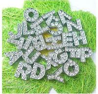 al por mayor deslizar las cartas encanto-Mayorista de 10mm 130pcs A-Z de diamante de imitación de Diapositiva letras Encanto Accesorios