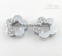 Wholesale 8mm 100pcs Half rhinestone Plum flower Slide Charm Accessories