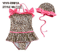 Girl baby swimwear - Baby swimwear Leopard piece swimsuit piece Neck piece swimsuit holding swimming cap swimwear suits