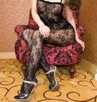 Spandex Bodystocking Free Size New sexy net Flower open-crotch one-piece body silk stockings Lingerie underwear black