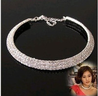 Wholesale Women Crystal Rhinestone Collar Necklace Choker Rows Choker Necklace Bride s Wedding Necklace Rhinestone Necklace