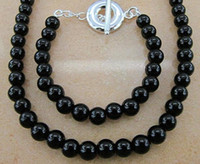 Wholesale Noble jewelry Silver Black Onyx Ball Beads OT Chain Necklace Bracelet jewelry sets quot sets