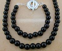 """Bracelet & Necklace Celtic Unisex Noble jewelry 925 Silver Black Onyx Ball Beads OT Chain Necklace+Bracelet jewelry sets 18+8"""" 10sets"""