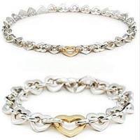 Wholesale Sterling Silver Heart Necklace Bracelet necklace set jewerly silver jewelry s