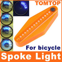 Wholesale 14 LED electric Bike Bicycle Wheel Spoke Light Blue Lights Patterns bike decoration parts H1841