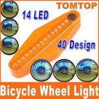 Wholesale 14 LED electric Bike Bicycle Wheel Spoke Light Blue Lights Patterns romantic bike parts H1841