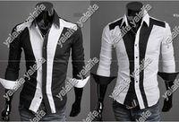 Wholesale Mens Shirts Spell Color Men s Long Sleeve Shirts Casual Slim Fit Stylish Hot Dress Shirts M L XL XXL