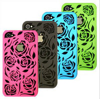 Charming Hollow- carved rose plastic hard case cover back she...