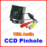 Wholesale CCD Mini Pinhole Spy Security CCTV Hidden Camera TV Lines Indoor Black Color Camera With Audio
