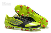 Wholesale Brand F50 Men s Football shoes sportshoes Sports shoes red green face Black nets cloth Soccer shoe