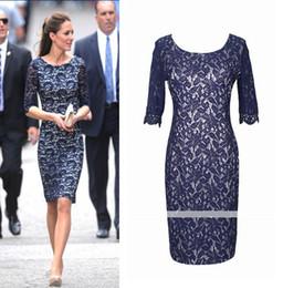 Wholesale 2014 Bridesmaid Dressses Sleeves Princess Kate s kink Canada Visiting Work embroidery christmas lace Dress Career Pencil Knee Length XL
