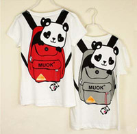 Wholesale Panda Schoolbag Cartoon Printing T Shirts Unisex Look Cute O Neck Cotta Purity Cotton Couple T Shirt