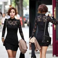 Cheap Casual Dresses sexy clubwear Best High Collar Mini cocktail dress