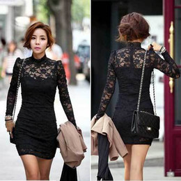 Wholesale New Women s Long Sleeve Neck Sexy Clubwear Party Cocktail Lace Mini Dress