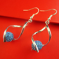 Wholesale Pairs light blue the Crystal Silver plated Copper Earrings