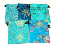 Wholesale Elegant Fancy Large Gift Bags China style High Quality Bunk Silk Brocade Drawstring Candy Storage Tea Packaging Pouch Festive Birthday Party