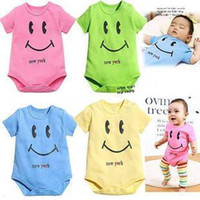 Wholesale 8pcs Baby rompers colors smiling face rompers kids jump suit Overalls baby clothing