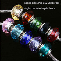 Wholesale 30pcs Faceted Glass bead Beads charms single core silver plated Charm fit Bracelet randomly mix styles