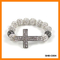 Fashionable Sideways Cross Shamballa Bracelets 10 pcs lot SH...
