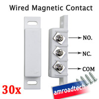 Wholesale 30 x Wired Magnetic Door Window Contact Sensor W N O N C Normally Open Close Output for Alarm System