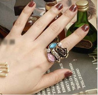 Wholesale Unique Colorful Crystal Stone Flower Rose Ring Gemstone Rings Blue Violet And White