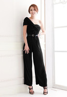 Wholesale Sexy Draped Off Shoulder Ladies Jumpsuits One Piece Evening Trousers Black Blue