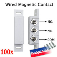Wholesale 100x Wired Magnetic Door Window Contact Sensor N O N C Normally Open Closed Output AT DC02W DHL EMS