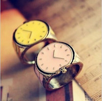 South American Unisex Gift Fashion Small Finger Ring With Watch Clock Shape And Candy Color Rings Free Shipping 12PCS a lot