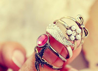 Wholesale Fashion Ring Jewelry Retro Wings Gemstone Bow Swallow Ladies Ring Seting Five piece set Sets a