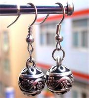 Wholesale Vintage Hollowing Flowers Bead Tibetan Silver Earring Women s Brand New Best Selling xmas gifts pair
