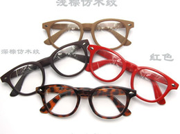 Wooden Glasses Frames Wood Grain Double Rivets Round Box Glass Frame