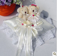 Wholesale Perfect Wedding Satin Wedding Bear Ring Pillow small red flower With For Wedding Decoration