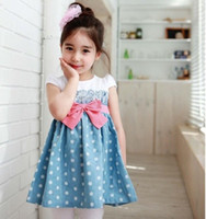 Wholesale Bowknot short sleeved cotton dress gril clothes