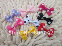 Wholesale baby dot hair boutique bow grosgrain ribbon dotted bows