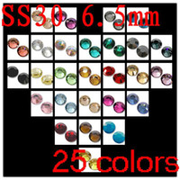 Wholesale 25colors bags ss30 pack separatly crystal flatback rhinestones express