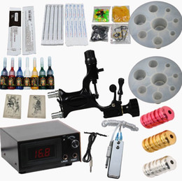 Wholesale Black Dragonfly Tattoo Rotary Gun Kits LED Power Supply Needles Grip Tip Inks Beauty Accessory