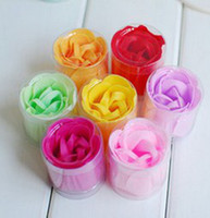 Wholesale washing cleaning bath rose Flower paper petals soap gift organtic wedding favor mulit color PC box
