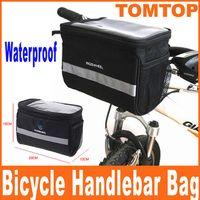 basket handle - Black Bicycle Cycling Handlebar Bag Front Tube Pannier Rack Bag Basket L for Travel H8110
