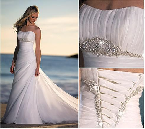Discount elegant sheath sexy sparkle beads beach wedding for Sparkly beach wedding dresses