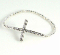 Wholesale New Charm Rhinestones Honesty Silver side ways Sideways Cross Bracelet Jewelry