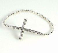cross bracelet - New Charm Rhinestones Honesty Silver side ways Sideways Cross Bracelet Jewelry