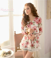 Wholesale Womens Chiffon shirt Rose Lace Net yarn Long sleeve Fashion Lace shirt