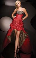 Evening Dresses Hot Sale Red Leopard Bridesmaid Hi- Lo Taffet...