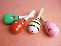 Wholesale 50pcs Hot Sale Baby Wooden Toy Rattle Cute Mini Baby Sand Hammer maracas musical instrument