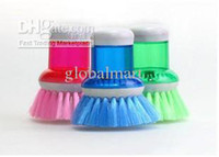 Wholesale Cleaning Brush with Detergent Container on Top Kitchen Pan Cleaning Tool Mixed Colors DN100 pc