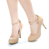 Cheap black white nude color high heel women shoe patent shoes round nose dress shoes 2012B021