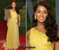 Oscar Awards alicia keys red carpet dresses - Alicia Keys Yellow Chiffon One Shoulder Vanity Oscar Party Red Carpet Sequins Celebrity Dress